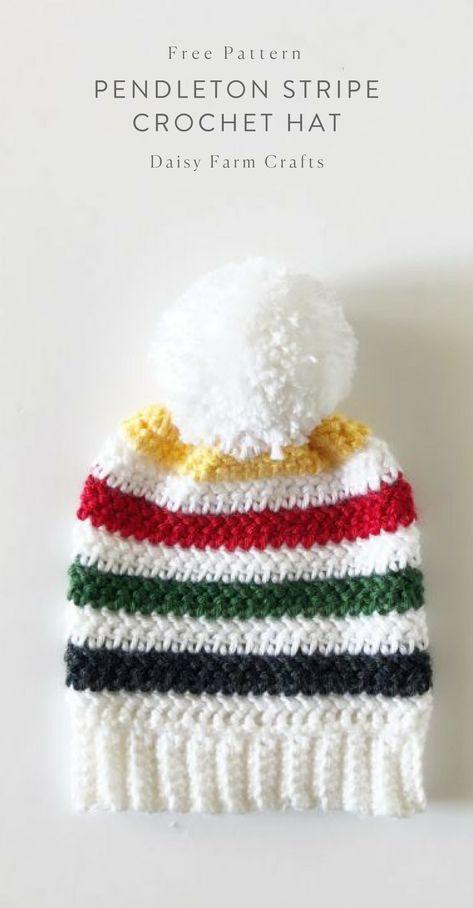 Free Pattern - Pendleton Stripe Crochet Hat | crochet hats