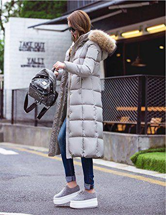 elear® damska długa lekka kurtka puchowa kurtka płaszcz zimowy kurtki puch z kapturem pod kolana zimowe S-XXL: Amazon.de: Bekleidung