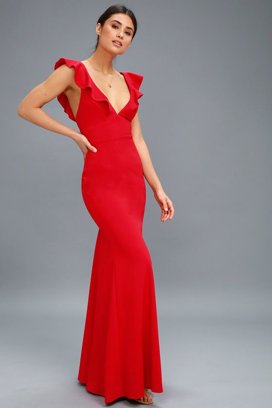 Lulus Exclusive! Weddings, parties, and galas are all good excuses to debut the Perfect Opportunity Red Maxi Dress! Stretch knit forms fluttering sleeves, a V-neck, seamed bodice, and set in waist. Figure-flaunting maxi skirt with mermaid hem. Hidden back zipper/clasp.
