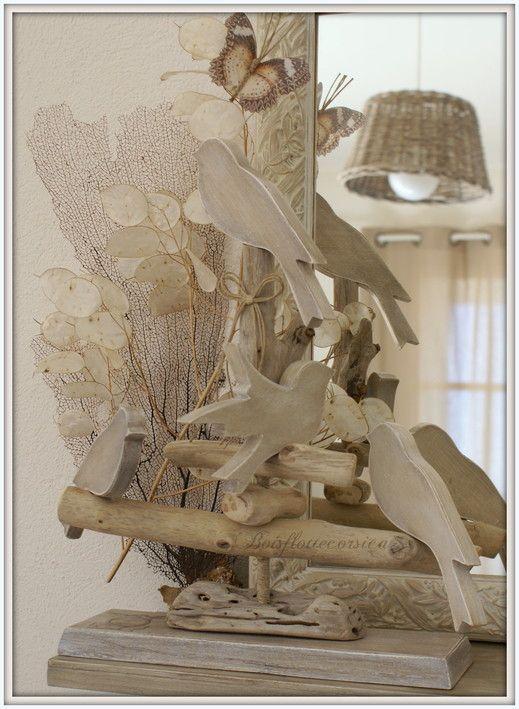 Oiseaux chantourn s sur perchoir en bois flott chantournage par boisflo - Pinterest bois flotte ...