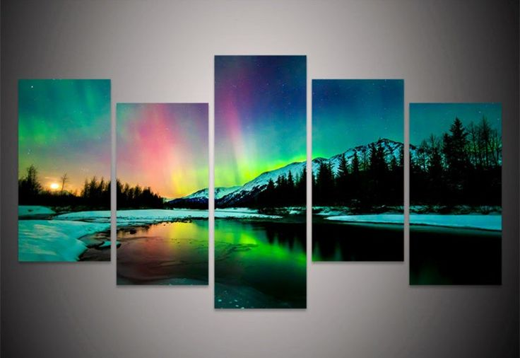 5Piece Wall Canvas Prints Art Poster Colorful Aurora Borealis Art Painting Canvas Quadros Home Decor Art Prints Painting