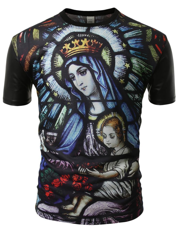 SMITHJAY Mens Hipster Holy Maria  Jesus Stained Glass Print PU Sleeves Tee #smithjay