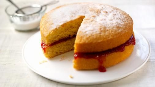 BBC Food - Recipes - Mary Berry's perfect Victoria sandwich | This is a delicious cake, and using flax eggs instead of chicken eggs worked just fine :3 I also filled it with a layer of stiff coconut cream under the jam.