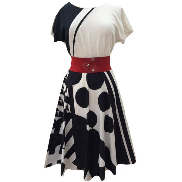 1980s monochrome vintage swing dress ($110) ❤ liked on Polyvore featuring dresses, white black dress, white and black dress, cotton dress, trapeze dress and cap sleeve dress