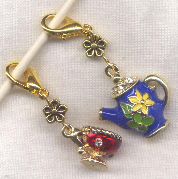 Teapot and Cup Stitch Marker Clip Blue Enameled Rhinestone Charm Pair /SM248D from GloriaPatreSpinNKnit on Etsy Studio