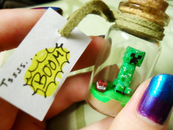 Minecraft inspired Creeper Bottle Charm by SheepPeep on Etsy, $7.00