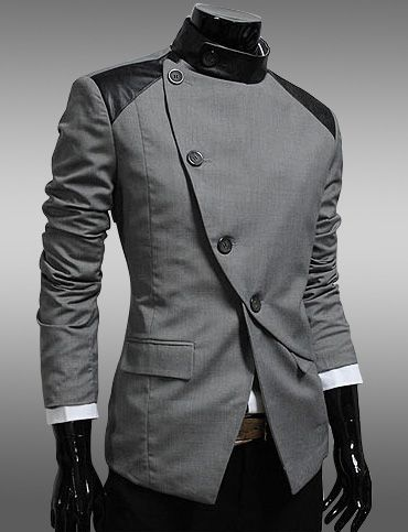 Men England Style Slanted Buckle Color Panel Blazer for Men | Item Code 704558 at M.EastClothes.com