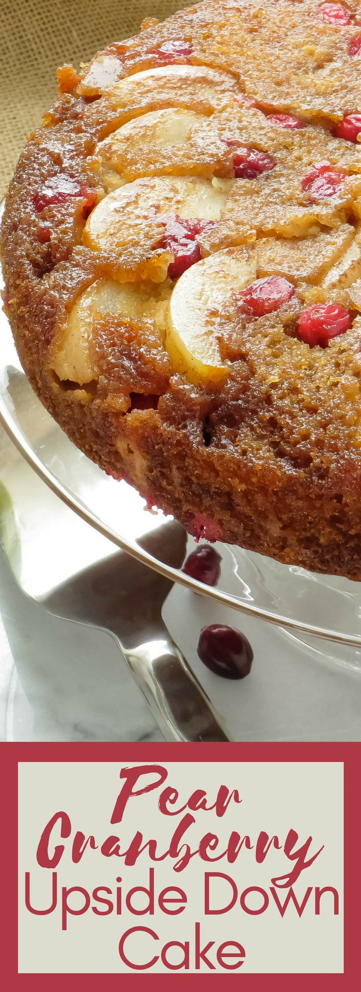 Looking for an easy fall dessert recipe? Juicy pears & tart cranberries are a twist on traditional upside down cake. Great for holidays and Thanksgiving!
