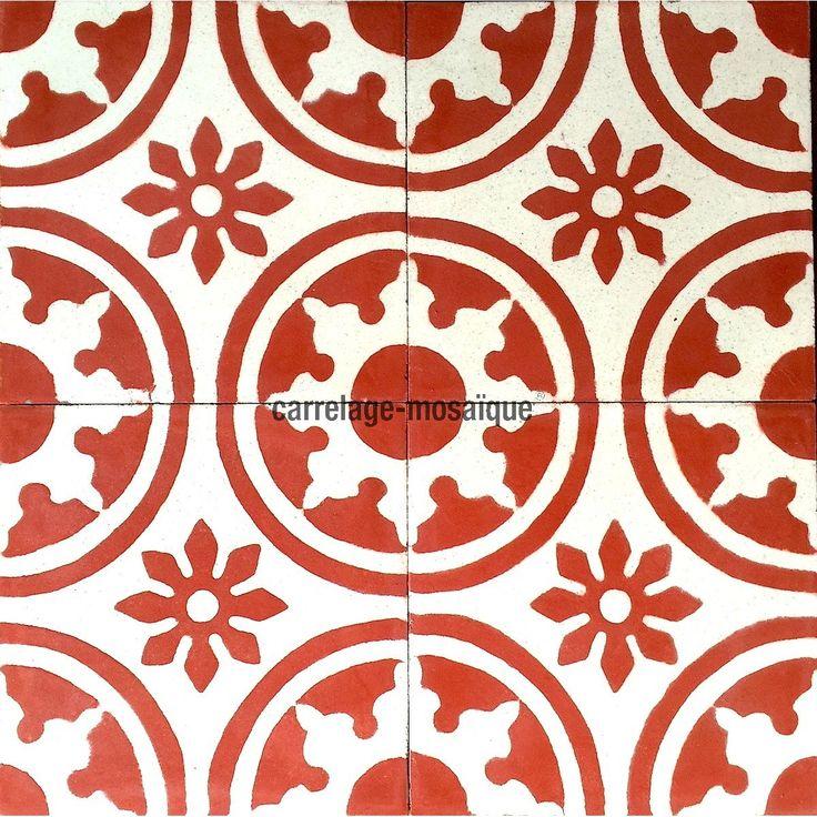 17 best images about carreaux ciment on pinterest vienna for Carrelage mosaique rouge