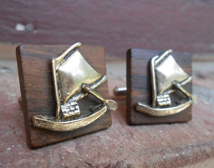 Vintage Sailboat Cufflinks. ROSEWOOD. Wedding, Men's, Groomsmen Gift, Dad, Unique Gift. by TreeTownPaper on Etsy