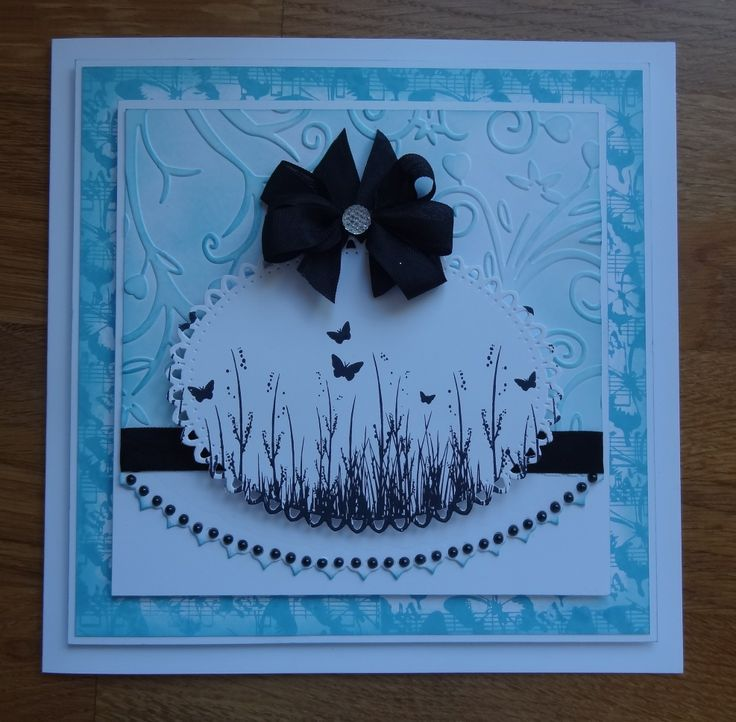 8x8 card, made by me, using Spellbinder Dies, Embossing Folder, Distress Ink and my Sentimentally Yours Butterfly Fields stamps. This is one of my sample cards from one of my Create & Craft shows. :-)