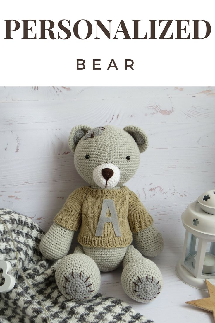 Personalized bear, crochet toys, crochet bear, bear in sweater, bear stuffed animal, personalised teddy, personalised baby gifts, teddy bear
