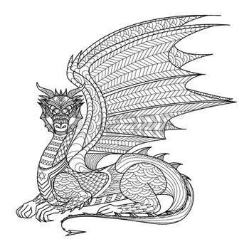 coloring pages print: Dibujo de dragón para colorear. Vectores