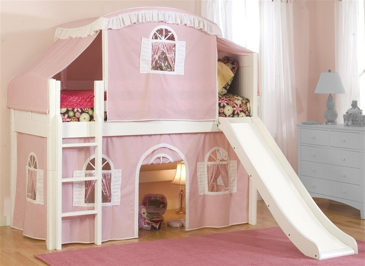 Cottage Twin Loft Bed w Top Tent, Slide & PinkWhite