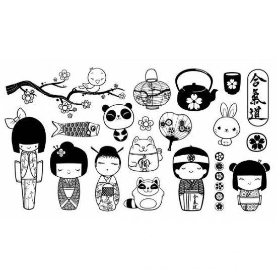 Sellos caucho figuras japonesas