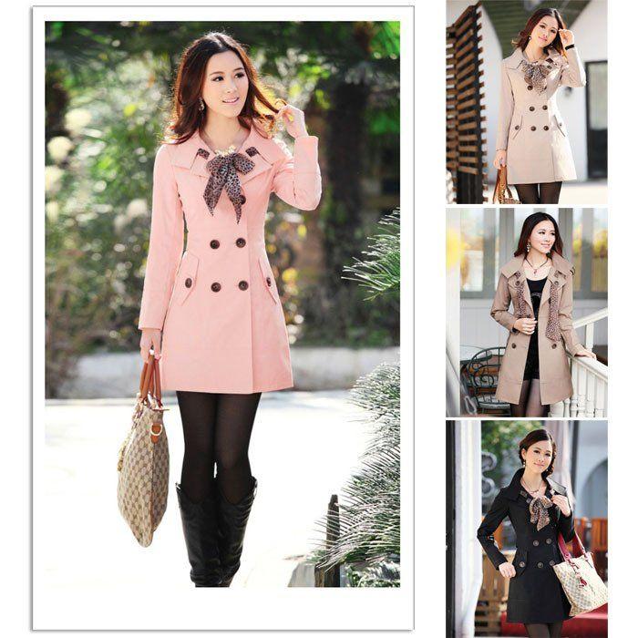 caliente 2012 mujeres dama doble botonaduraa larga chaqueta de abrigo bufanda xxo outwear