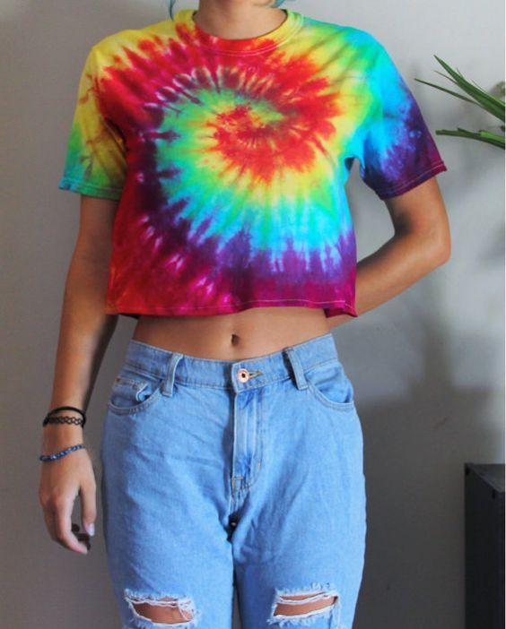 Vibrant Tie Dye Crop Top  Rainbow Spiral  by vertigomuse on Etsy