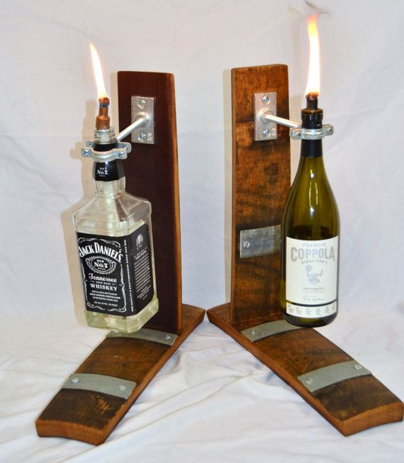 Table Top Wine barrel stave  Tiki Torch with