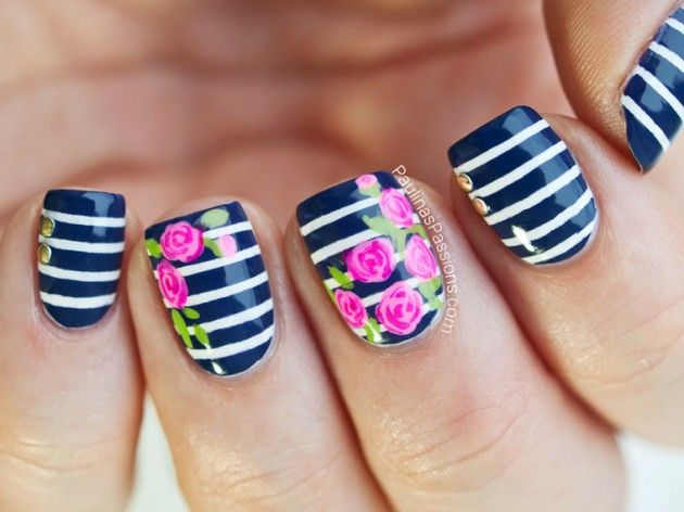 Flower Nail Designs Perfect For Spring and Summer Time. DIY nail polish art design. Floral print with stripes. Beauty tips, tricks & trends.