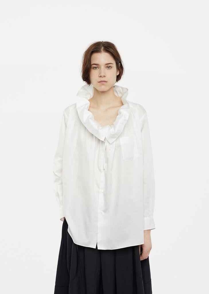 Ruffle Cotton Blouse by Comme des Garçons - La Garçonne