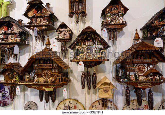 Cuckoo clocks, Germany, Baden-Württemberg, Schwarzwald, Black Forest, Titisee-Neustadt - Stock Image