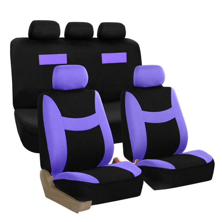 Car Seat Covers Purple and Black Complete Full Set For Auto Vehicle Upholstery #FHGroup