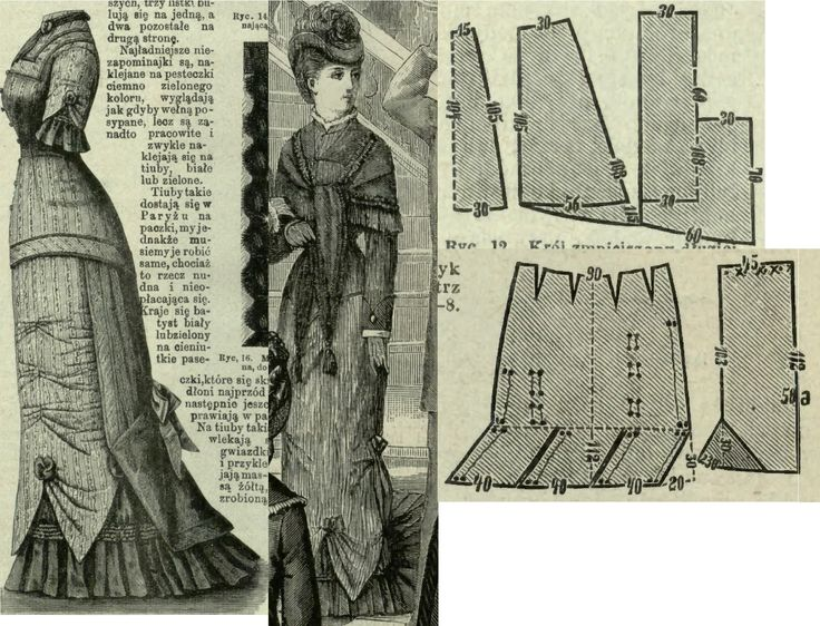 Mody Paryzkie 1879: Walking dress (skirt alterations for short and demi-train) with drapery.