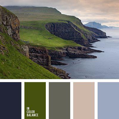 бледно-голубой, бледно-розовый, оливковый, почти-черный, серо-зеленый, серо-розовый, серо-синий, тёмно-зелёный, темно-синий, цвет грязи, цвет травы.