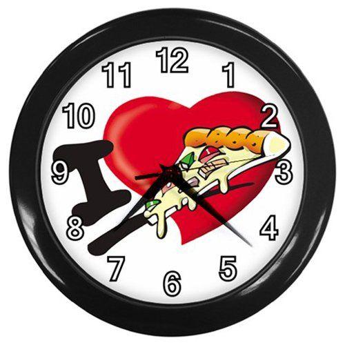 I+Love+Pizza+Black+Frame+Kitchen+Wall+Clock