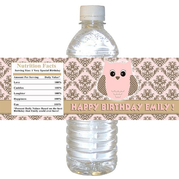 Water Bottle Name Tags: Printable Personalized With Name Owl Damask Pink Water