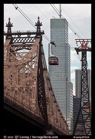 Roosevelt Island Tramway and Queensboro bridge. NYC, New York, USA