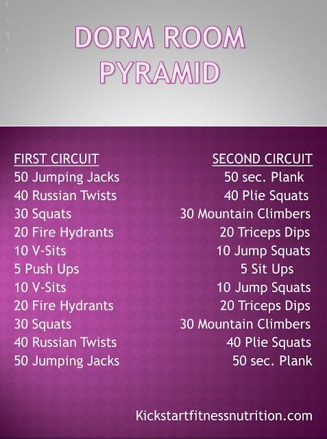 Dorm Room Pyramid Workout Stuck in a small room and no exercise equipment? Turn on the TV, plug in your favorite music, and get moving- there's no excuses with this Pyramid Workout!