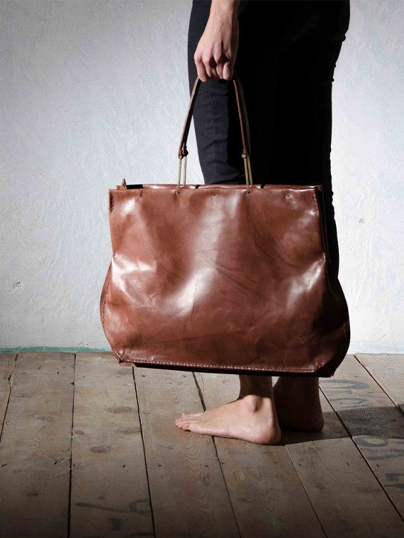 Chestnut brown leather bag Large tote bag for women by OneDuo