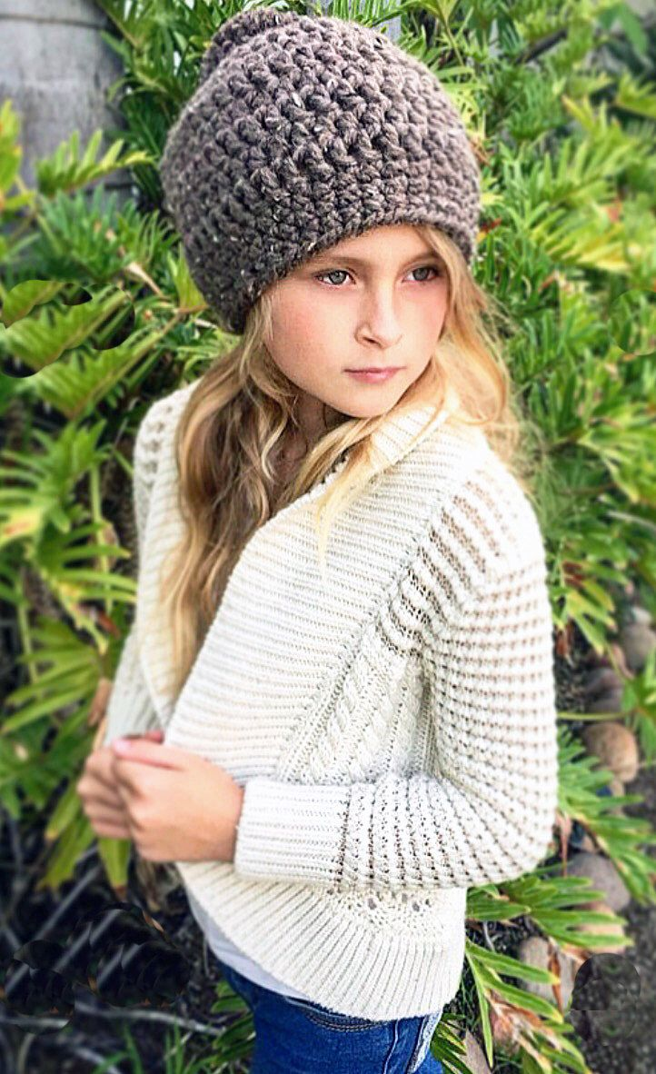 A personal favorite from my Etsy shop https://www.etsy.com/listing/493060957/chunky-beanie-hat-girls-winter-hat