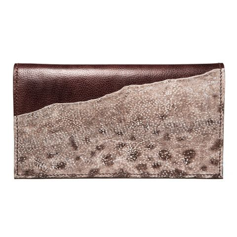 Brown evening leather clutch with wolffish fishleather