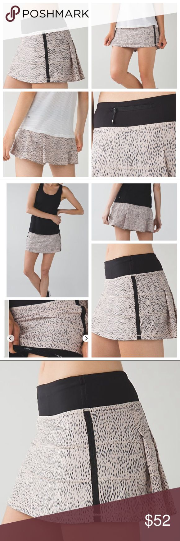lululemon Dotty Black Pace Rival Skirt II Brand new with tags. Lululemon: Why we made this - We made this breezy skirt so we can go from the trails to the court without slowing down. We added built-in shorts that are stretchy and sweat-wicking so that we can move, sprint and twist to our heart's content. We may have met our match! Color is nude/rose pink with black.  Key features: updated slim fit designed to feel light and keep you covered, Swift Ultra fabric lululemon athletica Skirts Mini