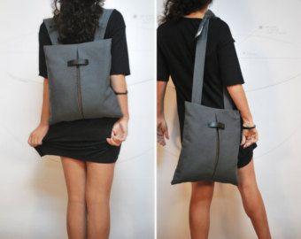Mochila convertible Messenger bolsa lona impermeable gris algodón marrón bolso con estilo Minimal mujer hecho a mano ciudad Chic Bolsa regalo para ella