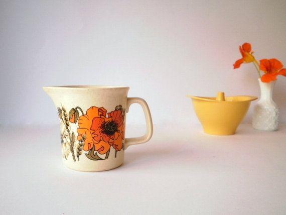 Vintage Creamer/milk jug, Johnson Of Australia, Stoneware, Poppy Pattern By Jessie Tait.
