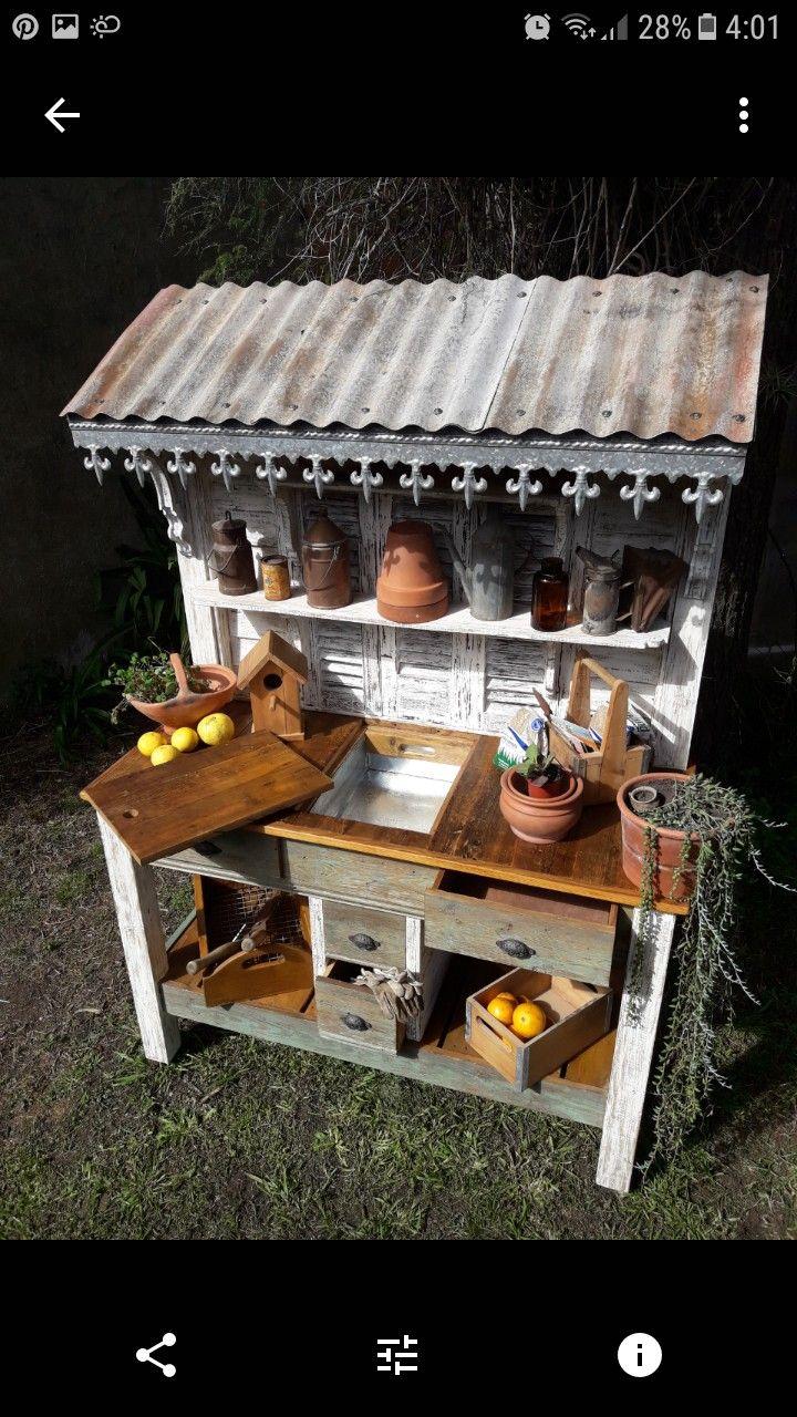 Potting Bench With Tin Roof Fleur De Lis Metal Trim On The