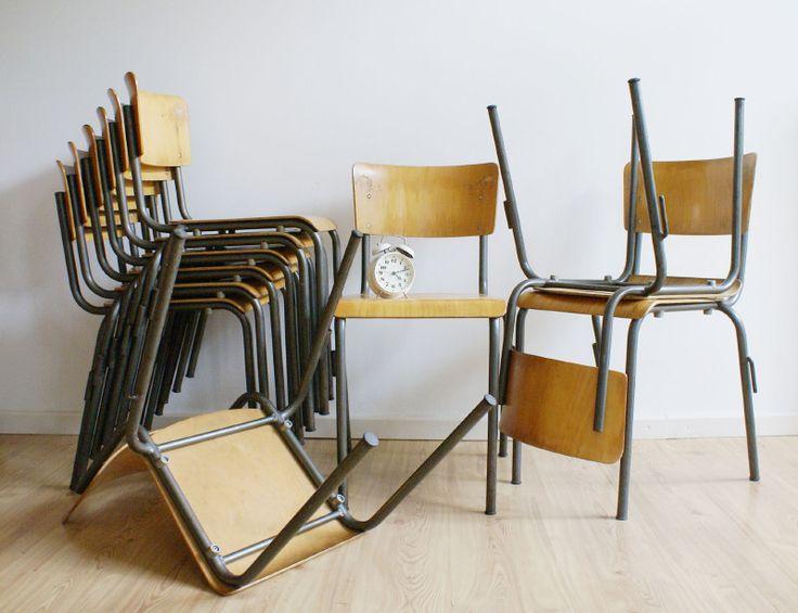 Vintage schoolstoel, industriële hout/metalen stoelen, 10x   Toffe meubels   Flat Sheep