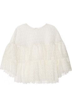 Chloé Ruffled crocheted lace top | NET-A-PORTER