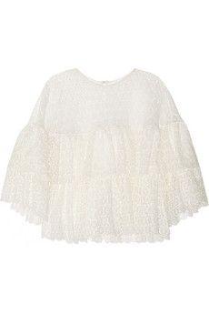 Chloé Ruffled crocheted lace top | NET-A-PORTER