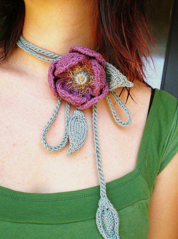 Hand Knit Floral Purple Peony Lariat / Bolo Fiber Art Neckwear / Necklace. $49.00, via Etsy.