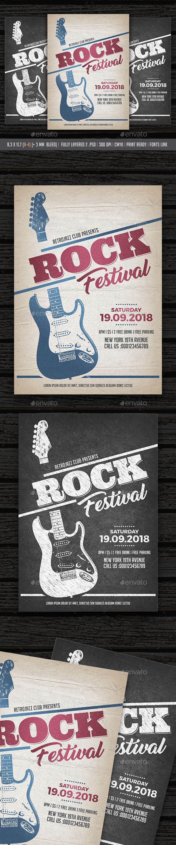 Rock Festival / Rock Festival Flyer Flyer Template PSD, Vector EPS
