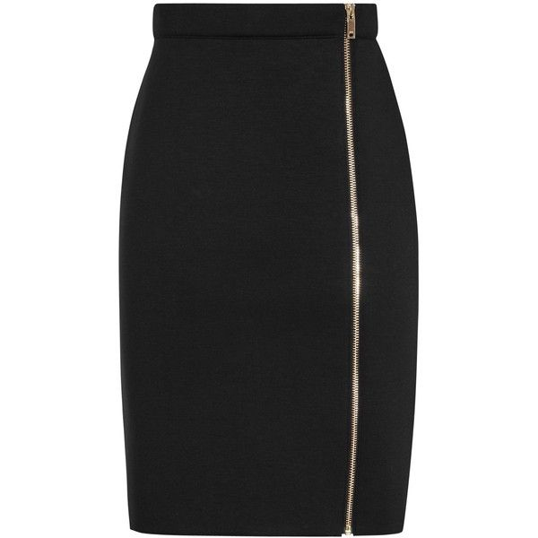 Reiss Ria Side Zip Skirt, Black ($125) ❤ liked on Polyvore featuring skirts, pencil skirt, reiss skirts, knee length pencil skirt, side zip skirt and reiss