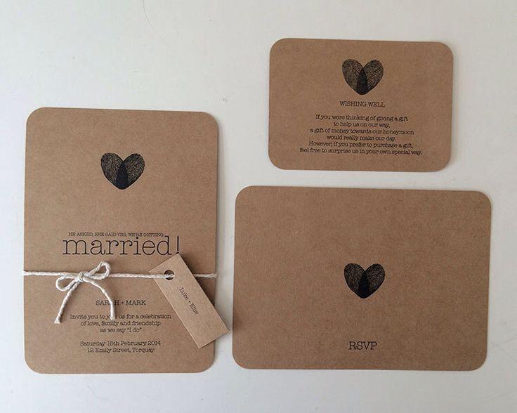 Wedding Invitation Set - Kraft Brown Paper - Custom Made to Order Invitation von MintConfetti auf Etsy https://www.etsy.com/de/listing/203424194/wedding-invitation-set-kraft-brown-paper