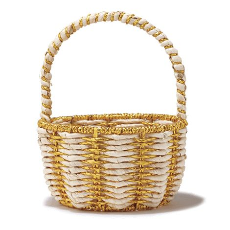 Perfect for collecting Easter eggs. 23 cm H x 18 cm W. Maize/gold foil. Spot clean.  Comes empty.