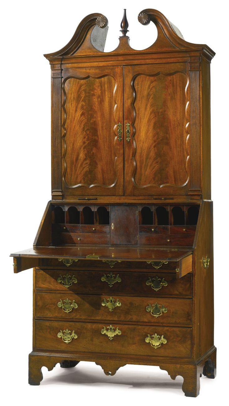 Georgian furniture characteristics - The Important Hussey Family Chippendale Carved And Highly Figured Mahogany Desk And Bookcase Georgian Furnitureantique