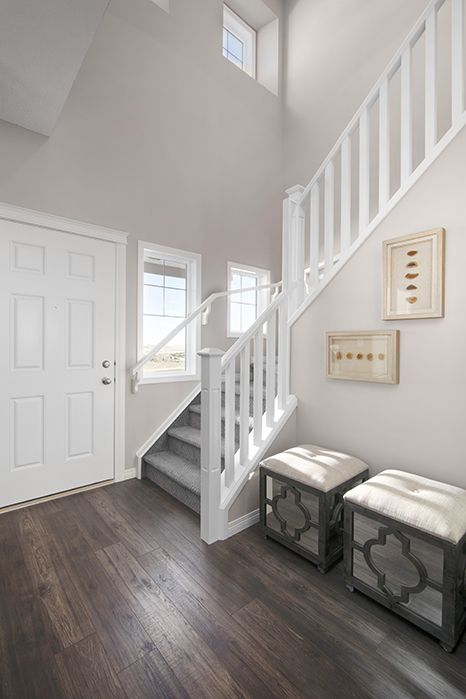 Foyer / entry in the Wysteria showhome in the community of Redstone in northeast Calgary
