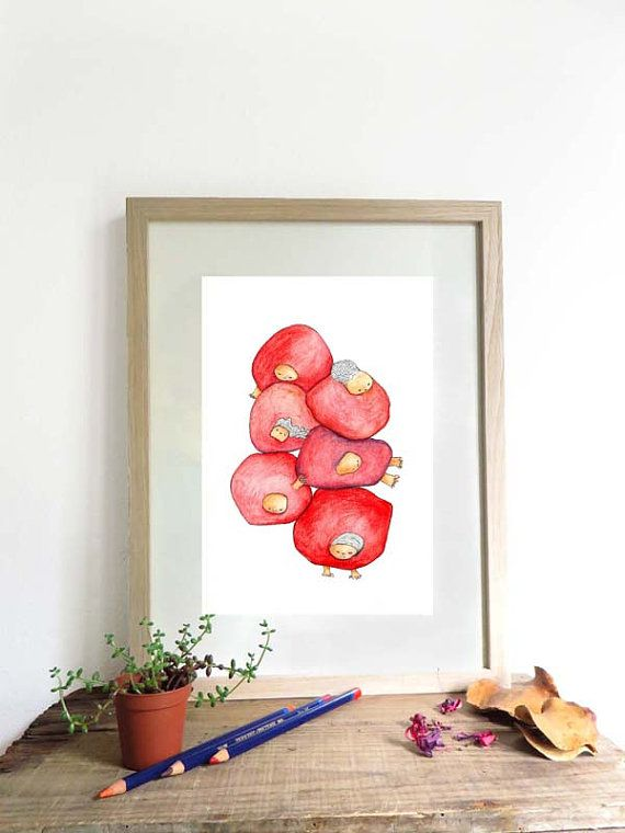 #Whimsical# Art illustration print original home by KusKatStudio #decoration #artprint #artwork #cute #red #droppingballs #ball #figures #interior #design #wall #hanging